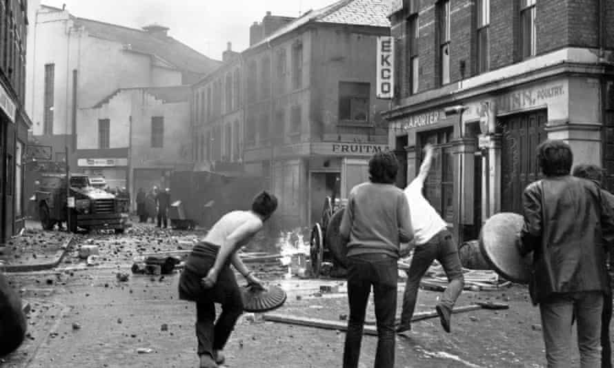 Derry youths throw petrol bombs at the RUC during the Battle of the Bogside in August 1969.