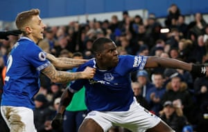 Everton's Kurt Zouma celebrates scoring their first goal with Lucas Digne, helping The Toffees to beat Bournemouth 2-0 at Goodison Park.