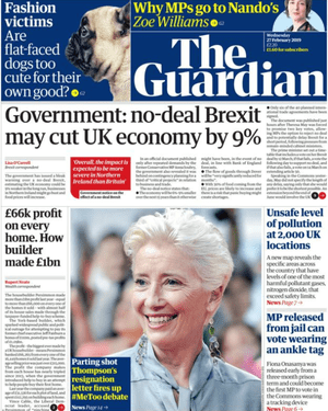 Guardian front page, 27 February 2019