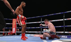 Kell Brook floored Sergey Rabchenko with an uppercut one minute and 27 seconds into the second round.