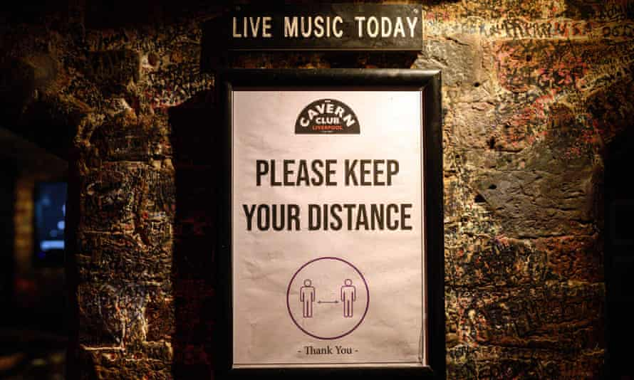 Liverpool's Cavern Club, physical distancing sign