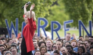 Elizabeth Warren at a campaign rally in Fairfax, Virginia, on 16 May.