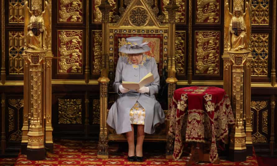 Queen Elizabeth II delivers her speech in the House of Lords during the state opening of parliament  on May 11, 2021 in London