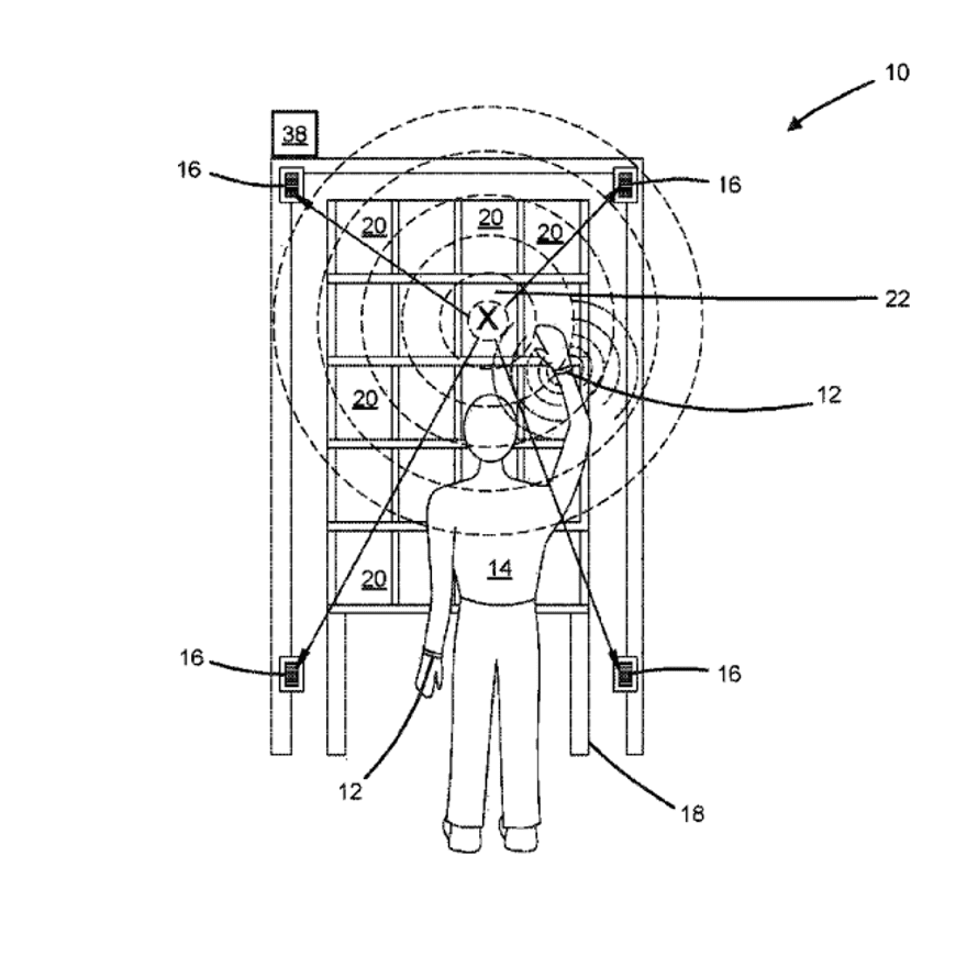 Ultrasonic bracelet and receiver for detecting position in 2D plane
