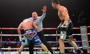 Referee Howard Foster grabs George Groves and controversially ends the fight one minute and 32 seconds into the ninth round