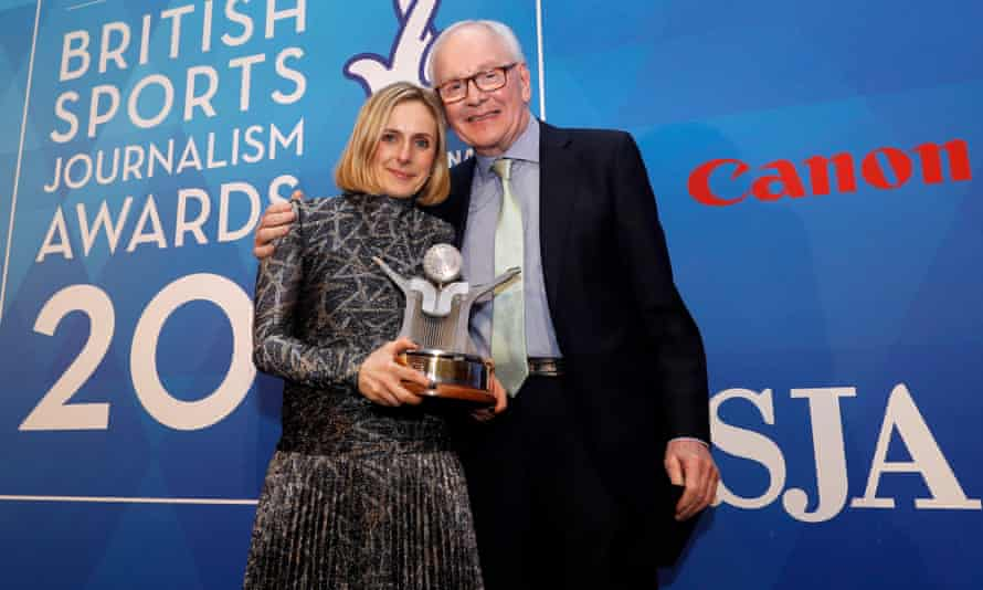 Marina Hyde receives the SJA sports writer of the year award from Patrick Collins – her second award of the night.