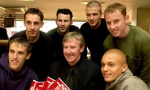 Eric Harrison, middle, surrounded by some of the players he coached (clockwise from left): Phil Neville, Gary Neville, Ryan Giggs, David Beckham, Nicky Butt and Wes Brown.