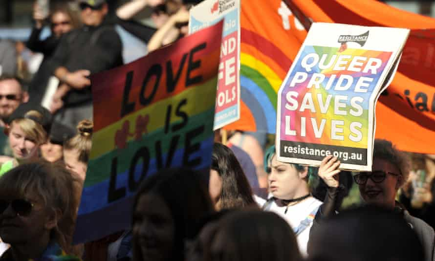 Supporters of marriage equality attend a rally in Sydney on 13 August 2016