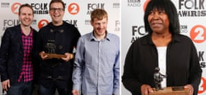The Young'uns, voted best group; and singer-songwriter Joan Armatrading with her lifetime achievement trophy at the BBC Folk awards.