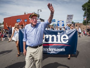 Bernie Sanders marches in the Fourth of the July parade in Slater, Indiana.