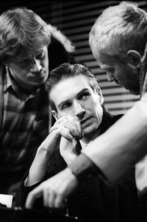 Mark Lewis Jones as Mick, Ralph Fiennes as Gant and Michael Pennington as Bill in the RSC production of Playing With Trains by Stephen Poliakoff at the Barbican theatre, London, in 1989. Directed by Ron Daniels and designed by Kit Surrey