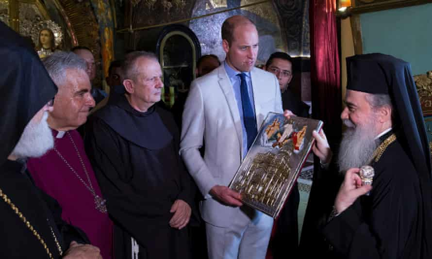 William visits the Church of the Holy Sepulchre in Jerusalem.