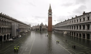 An empty St Mark's Square after heavy flooding in November