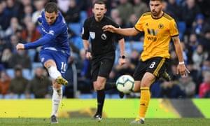 Eden Hazard of Chelsea scores the equaliser.