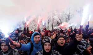 Far-right activists protest in front of the presidential administration headquarters in Kiev on Monday