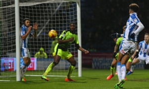 Philip Billing scores the late winner that gave Huddersfield a sixth consecutive victory.