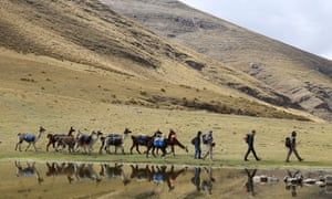 the group and llamas walk past Lake Sacracocha. south of Ayash.