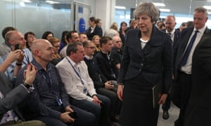 Theresa May in Belfast on Tuesday
