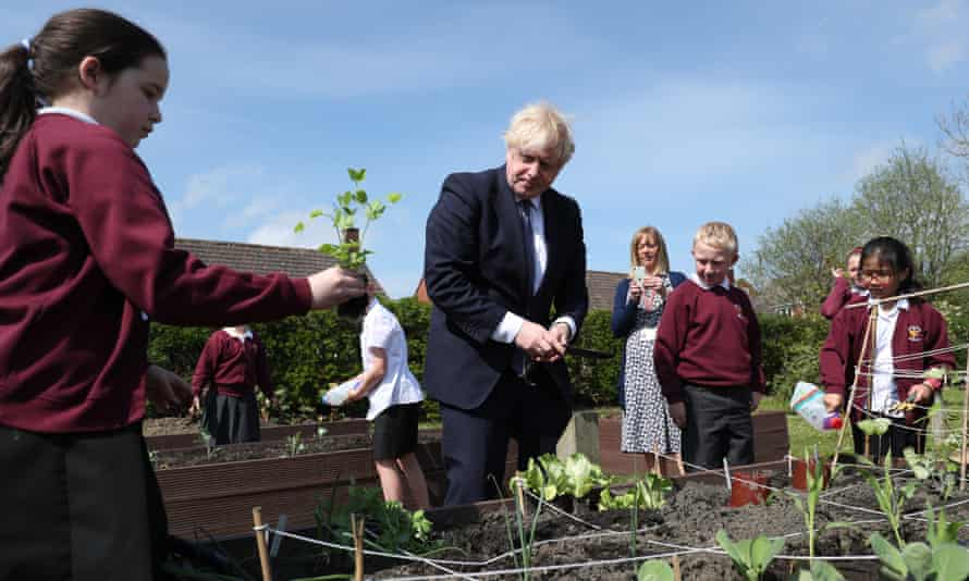Boris Johnson visits Cleves Cross primary school in Ferryhill