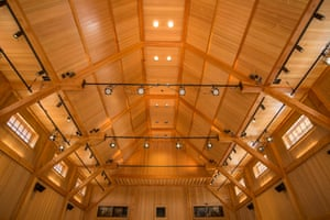 Detailed view of the wooden ceiling at The Olivier Music Barn at Tippet Rise Art Center, Montana, US