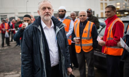 Jeremy Corbyn with postal workers, many of whom are members of the Communication Workers Union