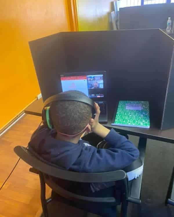 Community worker Bendrick Foster has set up workspaces where kids can do their schoolwork, get a meal and see friends.