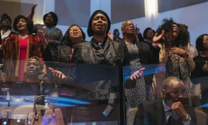Mourners attend the funeral service for Elijah Cummings in Baltimore, Maryland, on 25 October.