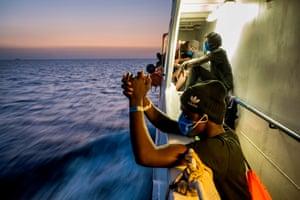 Refugees on ship