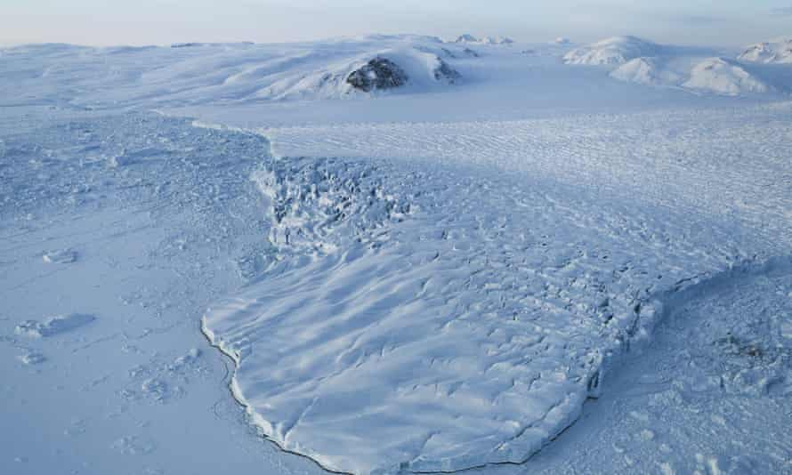 A glacier is seen from Nasa's Operation IceBridge research aircraft above Ellesmere Island, Canada.