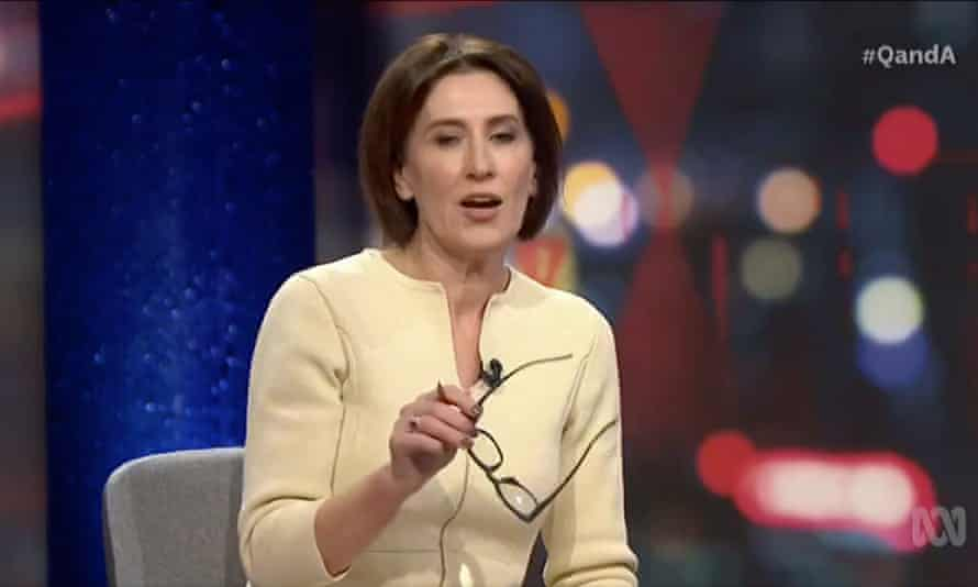 Host Virginia Trioli on the ABC's Q+A program speaking about cuts to ABC funding.