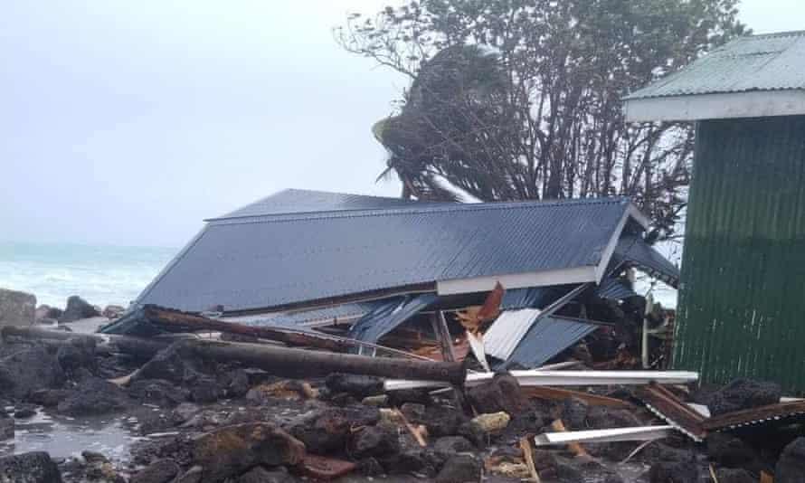 Damage from cyclone Tino to Oinafa Jetty on the Fijian island of Rotuma.