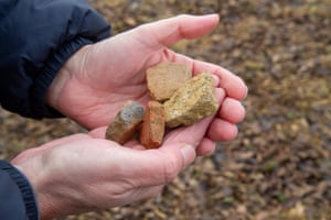 Pieces of medieval roof tiles pictured in the field where they were found