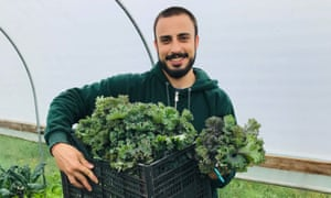 Hassan Ali stands with a box of fresh kale.