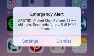 The alert sent to mobile phones about the bombing suspect.