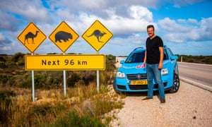 Wiebe Wakker at a wildlife crossing during his drive around Australia in his electric car. The Dutch man has driven 89,000km from Amsterdam to Adelaide