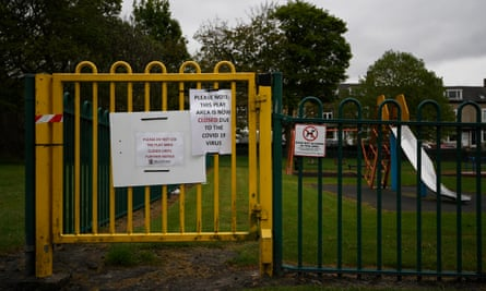 A sign reminding the public about the closure of a play area in Peel Park, Bradford.