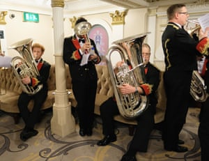 Musicians from the Black Dyke brass band prepare to go on stage