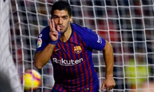 Luis Suárez scored twice to send Barcelona clear at the top of the table – but it was nearly a different story.