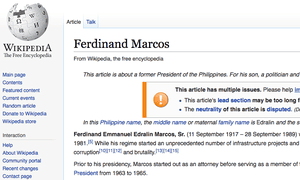 The heavily disputed Wikipedia page of Ferdinand Marcos.