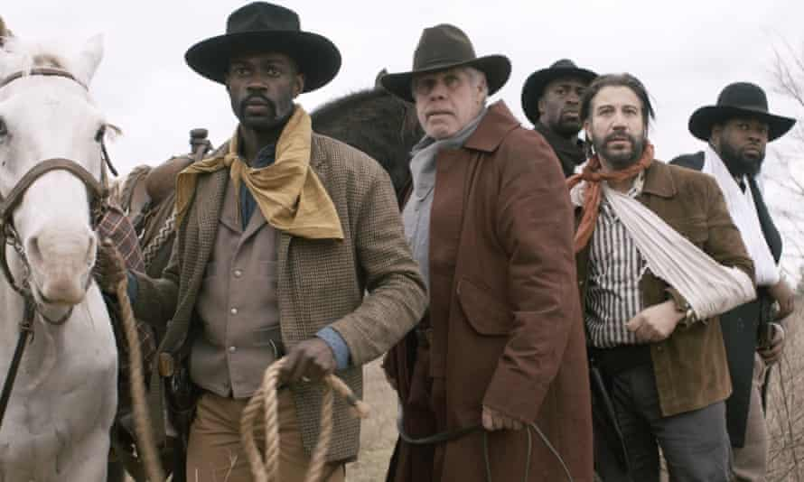 The first black deputy west of the Mississippi River ... David Gyasi, left, as Bass Reeves and Ron Perlman in Hell on the Border (2019).