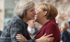 Angela Merkel greeting Theresa May at the Chancellery in Berlin on November 18.