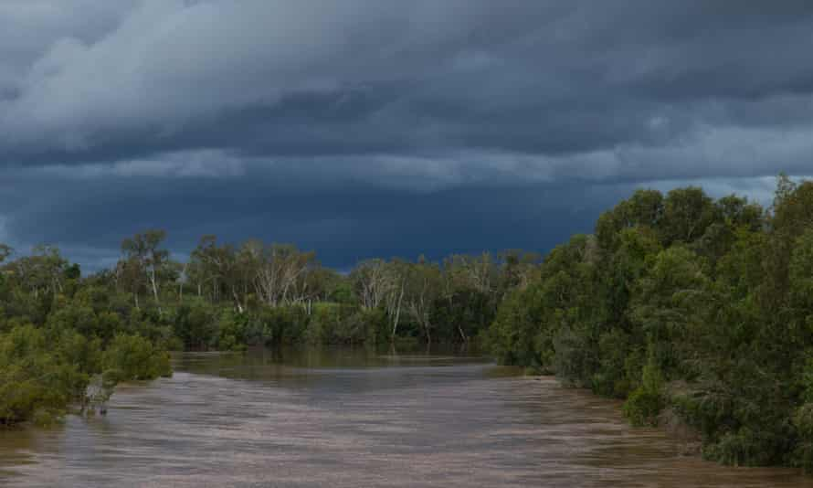 McArthur River crossing at Borroloola in the wet season, looking up to the mine site.