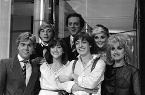 Sir Terry Wogan with Eurovision bands Bardo an Bucks Fizz