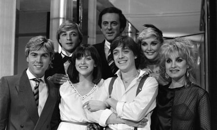 Sir Terry Wogan with the UK's 1982 entrants into the Eurovision Song Contest Bardo and 1981 winners Bucks Fizz