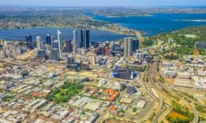 An aerial view of Perth, Australia