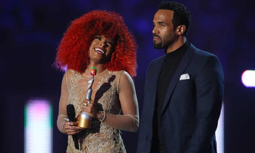 Rare moment … Two black artists at this year's Brits, as Fleur East and Craig David present the best international female solo artist award.