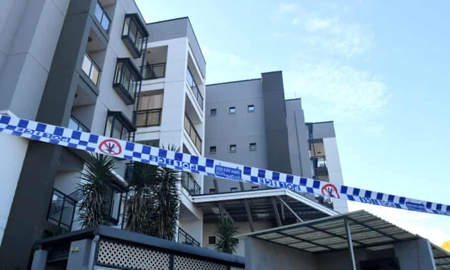 A locked-down apartment building in western Sydney