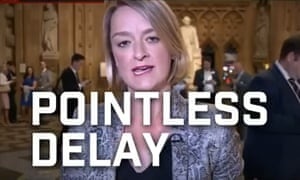 Laura Kuenssberg with words 'Pointless Delay' overlaid