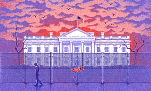 Illustration of the White House with a Danger sign in front of it
