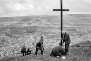 Cwm. Easter Chapel walk and the placing of the Cross on the top of the local mountain. 1999